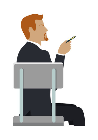 isoated: Man Sitting on the Chair and Pointing by Hand.