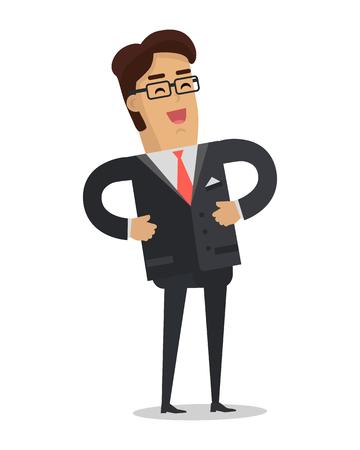 Laughing Businessman Vector in Flat Design Illustration