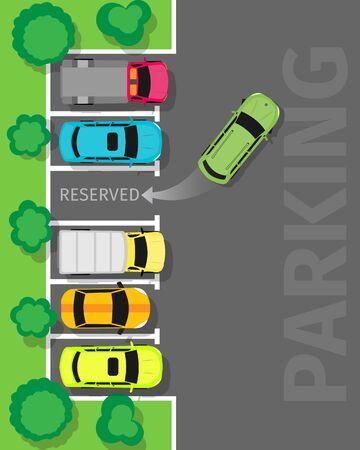 driveway: Parking Top View Vector Web Banner in Flat Design