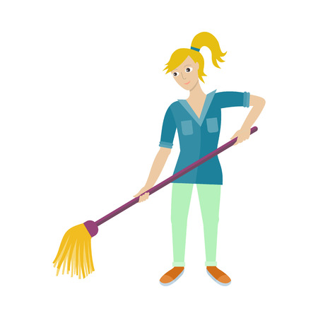Female Worker of Cleaning Company with Broom.