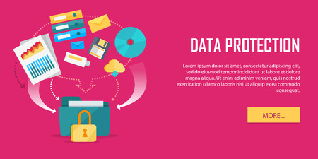 discs: Data Protection Video Web Banner in Flat Style Illustration