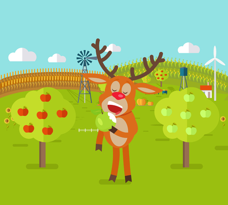 Deer in Garden Eats Apple. Cute Reindeer Snack. Illustration