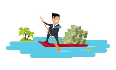 Escapar con el concepto de dinero vector. Diseño plano. Éxito. Delitos financieros, evasión fiscal, lavado de dinero, ilustración de la corrupción política. Hombre sonriente en traje de negocios navegando en barco con el dinero.