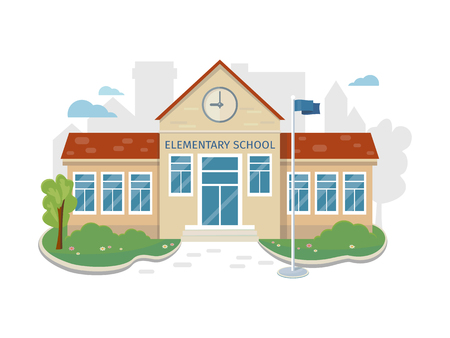 Beste Schoolgebouw Vector in Flat Style Design Stock Illustratie