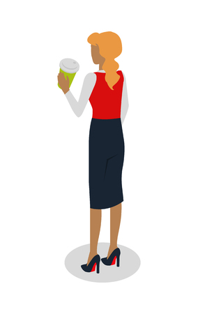 backview: Woman in Expencive Suit Drinks Coffee. Vector Illustration