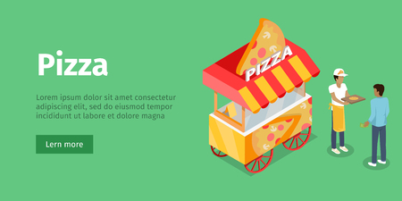 Pizza trolley in isometric projection style design icon. Street fast food concept. Food truck with umbrella illustration. Isolated on green background. Mobile shop with cooker and buyer. Vector