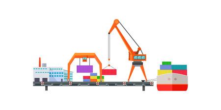 Escalator Delivers Cargo on Ship. Logistics
