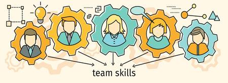 people development: Team skills banner. Avatar in gear.