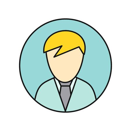 Icona di avatar privato giovane. Giovane uomo biondo in camicia blu e cravatta. Pittogramma di avatar di utenti privati ??di business di reti sociali. Icona linea rotonda. Illustrazione vettoriale isolato su sfondo bianco.