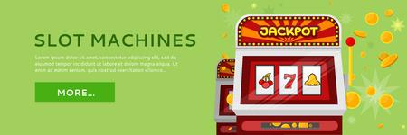Slot Machine Web Banner Isolated on Green Illustration