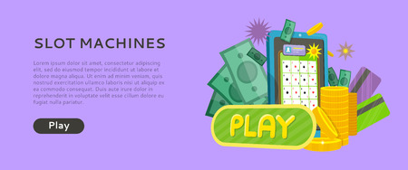 Slot Machine Web Banner Isolated with Play Button Illustration