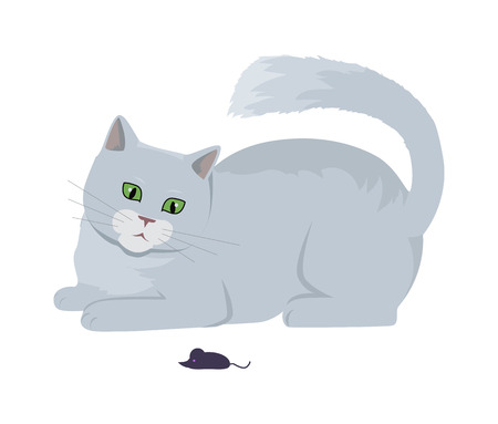 Cat with Mouse Vector Flat Design Illustration Illustration