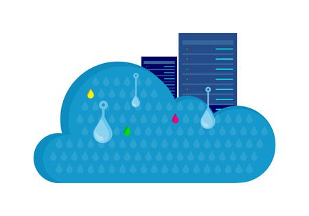 Cloud Storage Design Flat Concept. Saving Info