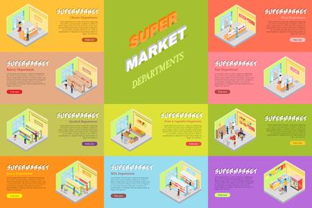 Supermarket Departments Banners Set. Store Shop