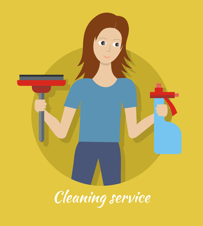 Member of Cleaning Service with Broom and Cleaner. Ilustração