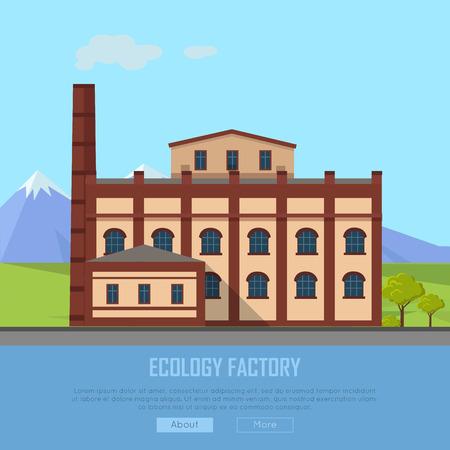 Ecology Factory Web Banner. Eco Manufacturing Illustration