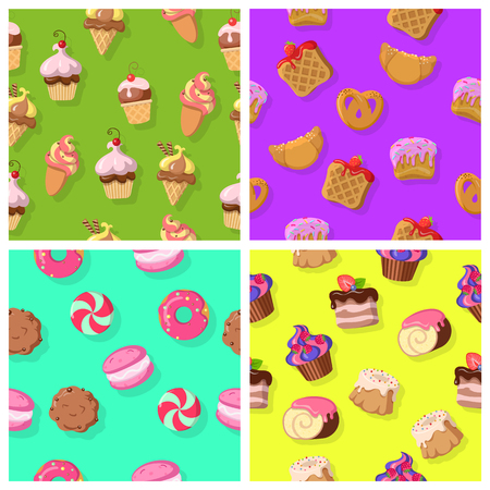 swiss roll: Set of Seamless Patterns with Confectionaries