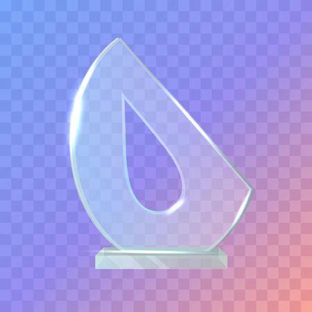My Best Trophy. Semi-oval Award with Drop Inside Illustration