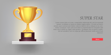 awarded: Super Golden Cup with Two Handles Pink Background.