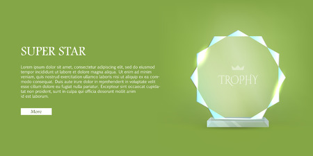 My Best Trophy. Round Glass Award with Cutters Illustration