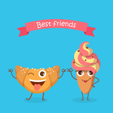 Snoepgoed. Beste vrienden. Glimlachende Croissant En Cake