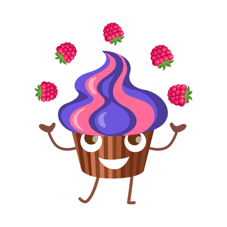 juggle: Sweets. Fruit Cupcake Juggle with Four Raspberries Illustration