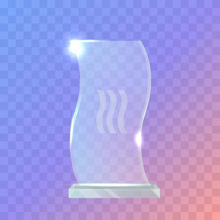 My Best Trophy. Crystalic Award in Waved Shape Illustration