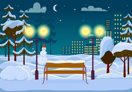 Snowy Winter City Park Vector Illustration Illustration