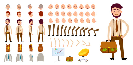 Businessman Character Creation Set. Cartoon Design