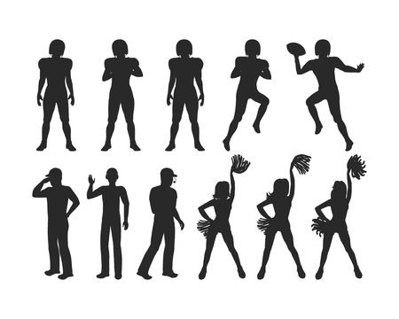 shadowgraph: Football Players, Coaches, Cheerleading Girls