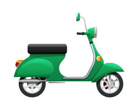 Transport. Illustration of Isolated Green Scooter Stock Photo