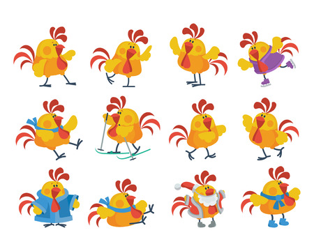 Cute Cartoon Roosters Flat Vector Icon Set