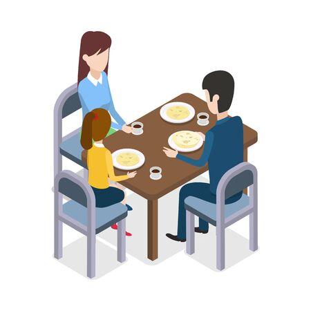 레스토랑에서. Familly는 식당 테이블에 앉아