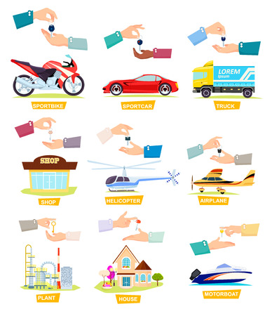 Set of Icons with Selling, Buying Cars, Houses
