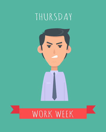 wrath: Work Week Emotive Vector Concept In Flat Design Stock Photo