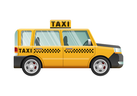 Big Yellow Taxicab. Checker on Roof of Automobile Stock Photo