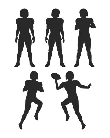 shadowgraph: Collection of Silhouettes. Football Players Set