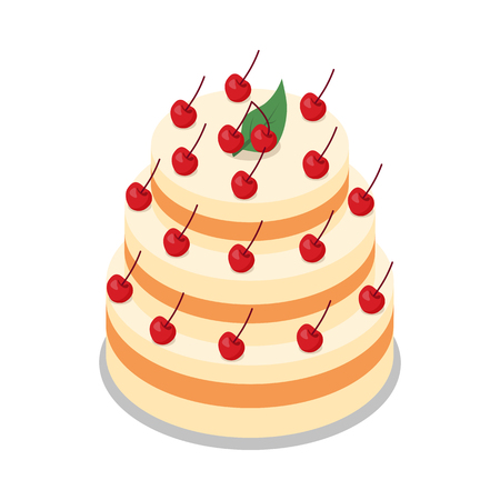 tiers: Cake in Three Tiers Decorated with Many Cherries