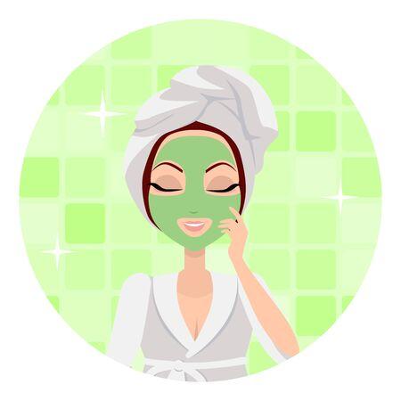 scrubbing: Girl applying a face scrub. Illustration