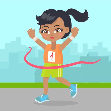 young girl: Young girl win the race little runner sport banner Illustration