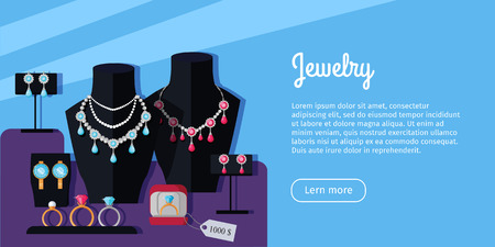 Jewelry Store Showcase Vector Web Banner