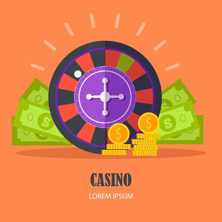 roulette online: Casino Concept Vector Illustration Flat Design. Illustration