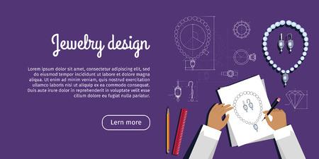 jewerly: Jewerly Design Advertisement Card. Jewels Sketch Illustration