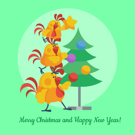 Cartoon Roosters Decorating Christmas Tree Vector Ilustrace