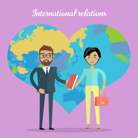 interracial: International Relations Flat Design Vector Concept