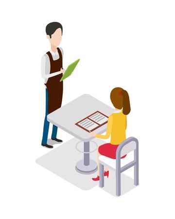 side table: Restaurant. Male Waiter Taking Customer Order Illustration