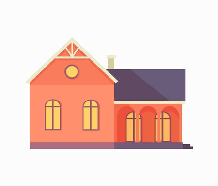 Happy House with Terrace Banner Poster Template. Illustration