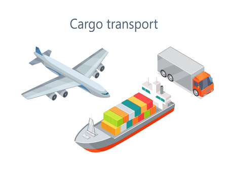 Cargo Transport Isometric Infographics Elements