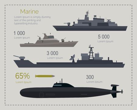 guard ship: Military Navy Flat Infigraphics