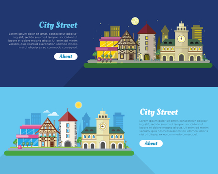 Day and Night City Street Flat Vector Banner